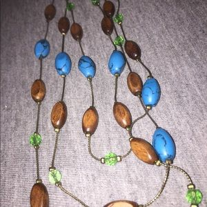 Layered Stone and Wooden Bead Necklace
